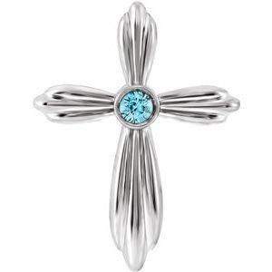 14K White Blue Zircon Cross Pendant
