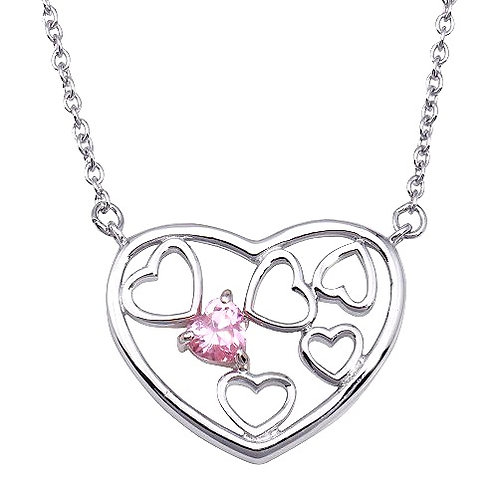 925 Blue CZ Rhodium Multi Hearts Plated Pendant Necklace