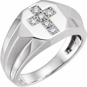 14K White 1/3 CTW Diamond Men's Ring