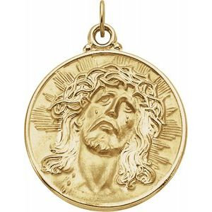 14K Yellow 28 mm Round Face of Jesus (Ecce Homo) Medal
