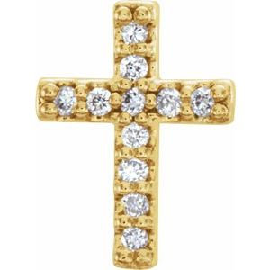 14K Yellow 1/10 CTW Diamond Cross Earrings