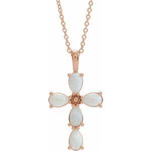 "14K Rose Cabochon White Opal Cross 16-18"" Necklace"
