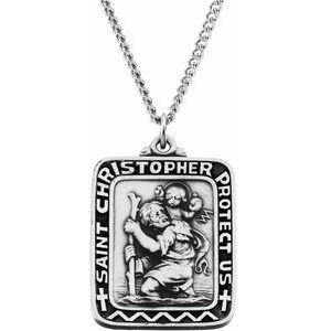 """Sterling Silver 31.5x26 mm St. Christopher Medal 24"""" Necklace"""