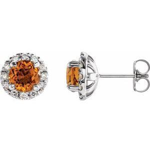 14K White Citrine & 1/3 CTW Diamond Earrings