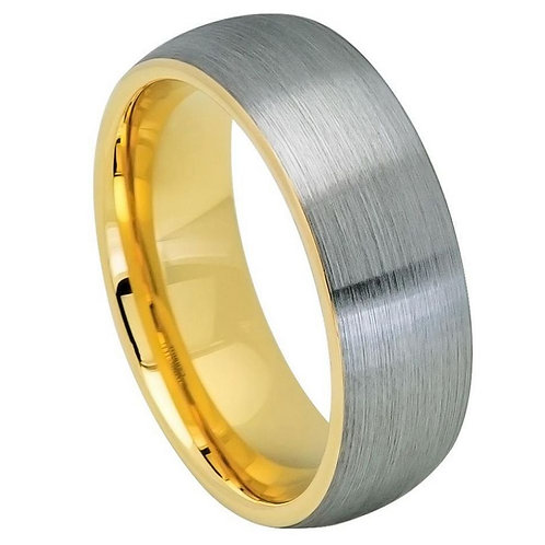 Domed Yellow Gold IP Plated Inside & Gun Metal Brushed Center - 8mm
