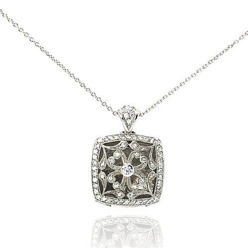 925 Clear CZ Rhodium Plated Locket Heart Accent Pendant Necklace