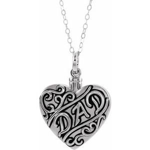 "Sterling Silver ""Dad"" Heart Ash Holder 18"" Necklace"