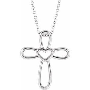 """14K White Cross with Heart 16-18"""" Necklace"""