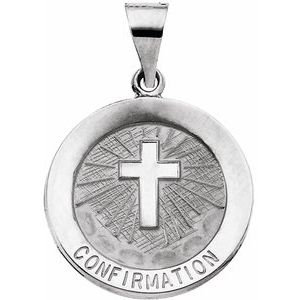 14K White 18 mm Hollow Confirmation Medal