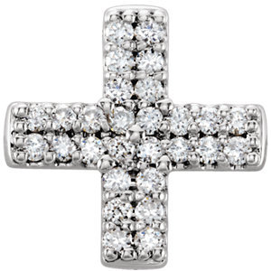 14K White .07 CTW Diamond Cross Pendant