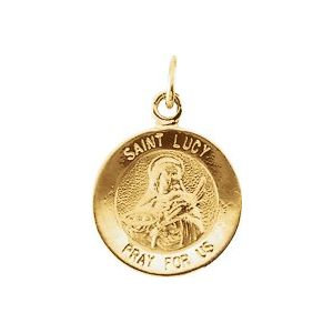 14K Yellow 12 mm Round St. Lucy Medal