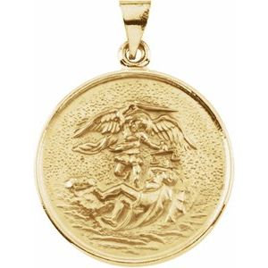 18K Yellow 24.5 mm St. Michael Medal