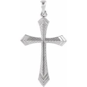 14K White 32x21 mm Cross Pendant