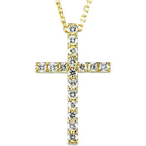 "14K Yellow 1/3 CTW Petite Diamond Cross 18"" Necklace"