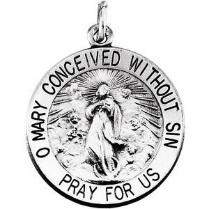 Sterling Silver 18 mm Round Immaculate Conception Medal