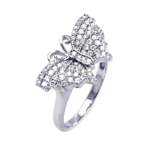 925 Rhodium Plated Micro Pave CZ Butterfly Ring
