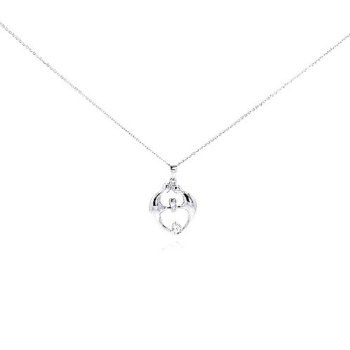 925 Clear CZ Rhodium Plated Family Pendant Necklace