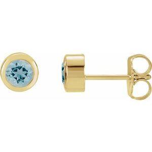 14K Yellow 4 mm Round Genuine Blue Zircon Birthstone Earrings