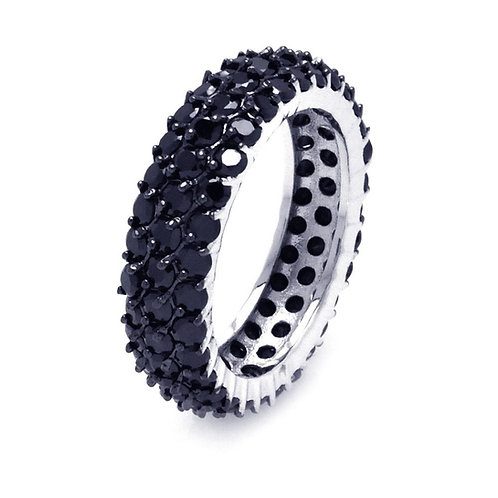 Sterling Silver Black CZ Eternity Ring Band