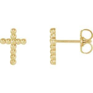 14K Yellow Beaded Cross Earrings