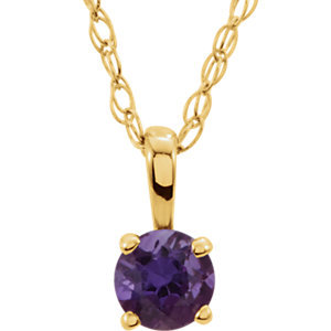 """14K Yellow Amethyst 14"""" Necklace"""