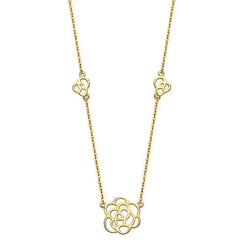 14K Gold Fancy Flower Necklace