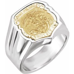 Sterling Silver St. Michael Badge Ring