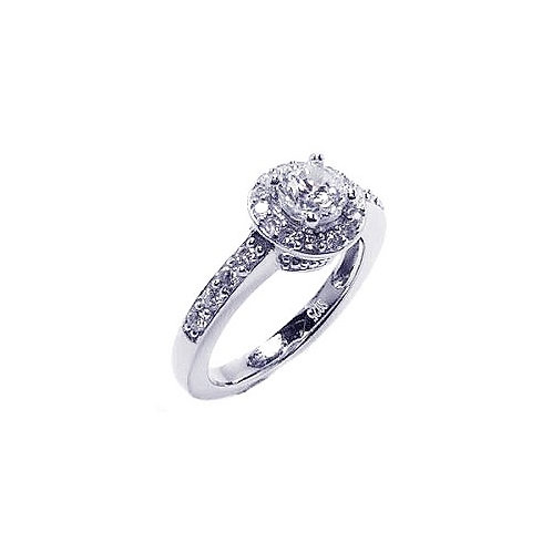 925 Rhodium Plated Pave Clear Cluster CZ Ring