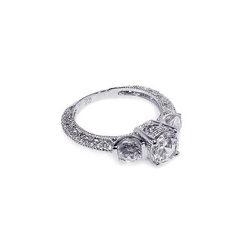 925 Rhodium Plated Pave Clear CZ Past Present Future Ring