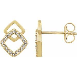 14K Yellow 1/10 CTW Diamond Geometric Earrings