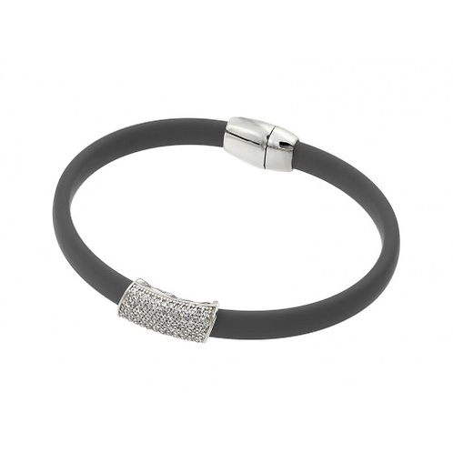 925 Rhodium Plated Clear Micro Pave CZ Grey Rubber Bracelet