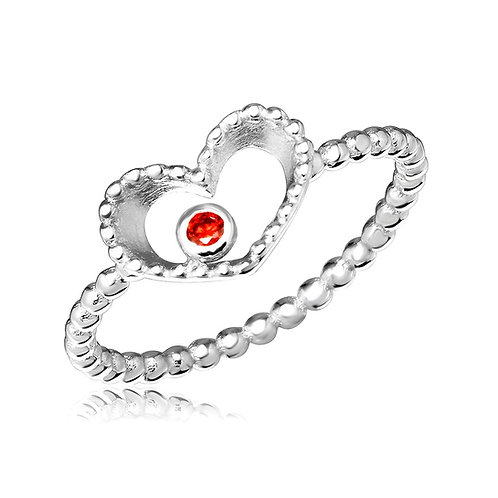 Open Heart Red Cubic Zirconia Sterling Silver Ring