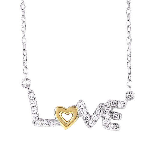 925 Two-Toned Plated Love Necklace with CZ