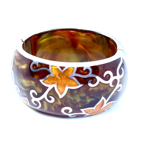 Sterling Silver Natural Amber Bangle Bracelet