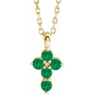 "14K Yellow Emerald Cross 16-18"" Necklace"