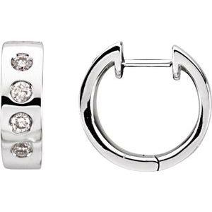 14K White 1/3 CTW Diamond Bezel-Set Hoop Earrings