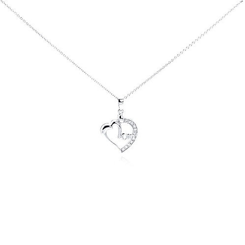 925 Clear CZ Rhodium Plated Mom Heart Pendant Necklace