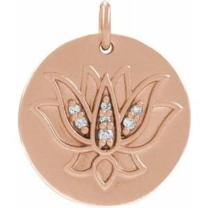 14K Rose .025 CTW Diamond Lotus Pendant
