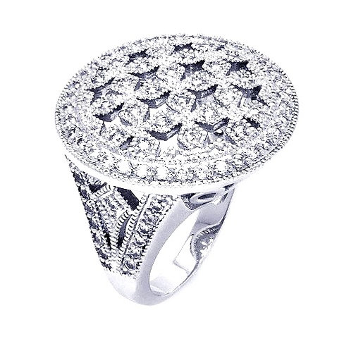 925 Rhodium Plated Clear Cluster CZ Cross Out Disc Ring