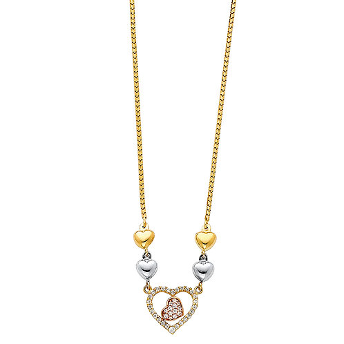 14K Tricolor Gold Fancy Heart Necklace