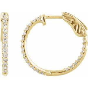14K Yellow 1 CTW Diamond Inside-Outside 26.5 mm Hoop Earrings