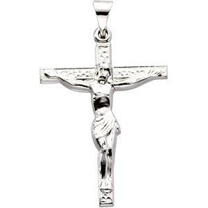 14K White Crucifix Pendant