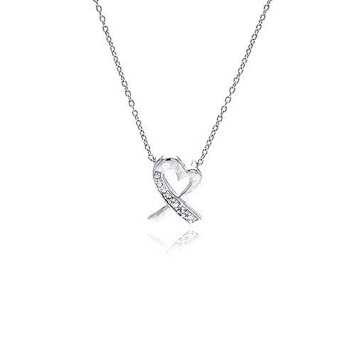 925 Clear CZ Rhodium Plated Pretzel Heart Pendant Necklace