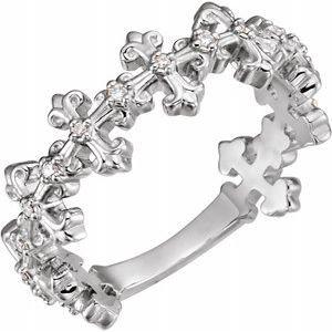 14K White .06 CTW Diamond Cross Ring