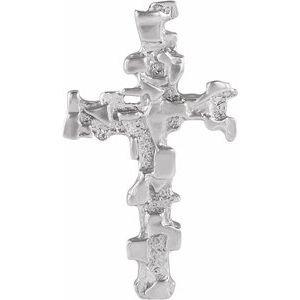 14K White 38x22 mm Nugget Cross Pendant