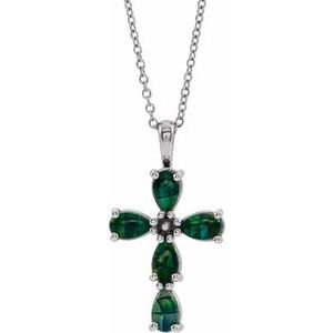 """14K White Cabochon Created Mosaic Opal Cross 16-18"""" Necklace"""