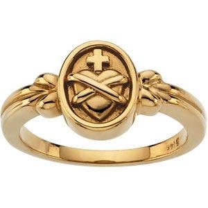 14K Yellow Sacred Heart of Jesus Ring