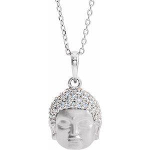 "14K White 1/8 CTW Diamond Buddha 16-18"" Necklace"