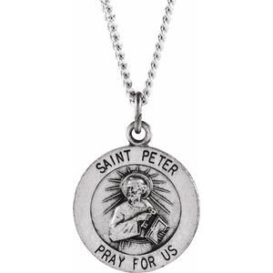 "Sterling Silver 15 mm Round St. Peter 18"" Necklace"