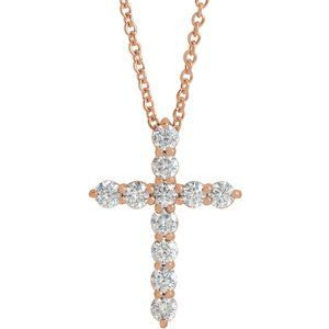 "14K Rose 17.8x12.9 mm 3/8 CTW Diamond Cross 16-18"" Necklace"